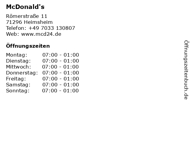 McDonalds Deutschland LLC in Heimsheim: Adresse und Öffnungszeiten