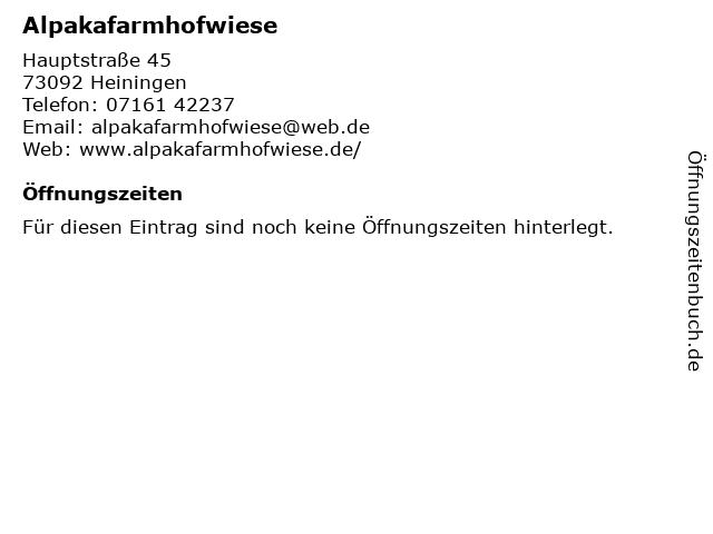 Alpakafarmhofwiese in Heiningen: Adresse und Öffnungszeiten