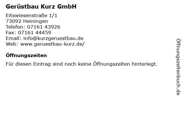 Gerüstbau Kurz GmbH in Heiningen: Adresse und Öffnungszeiten
