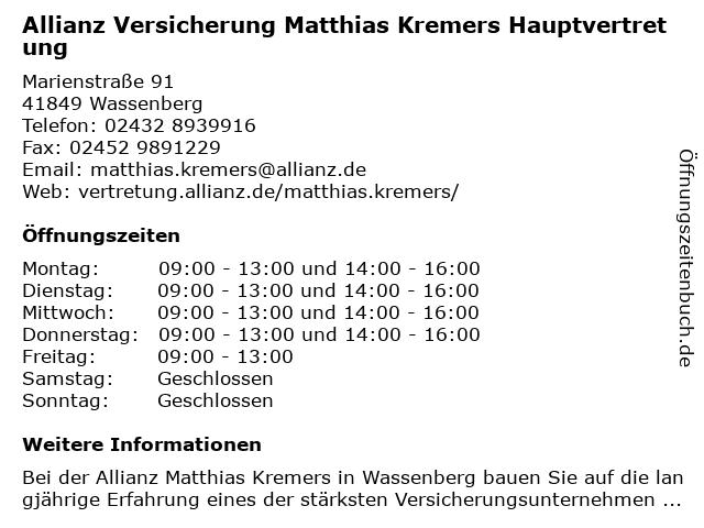 Allianz Vertretung Matthias Kremers in Heinsberg: Adresse und Öffnungszeiten