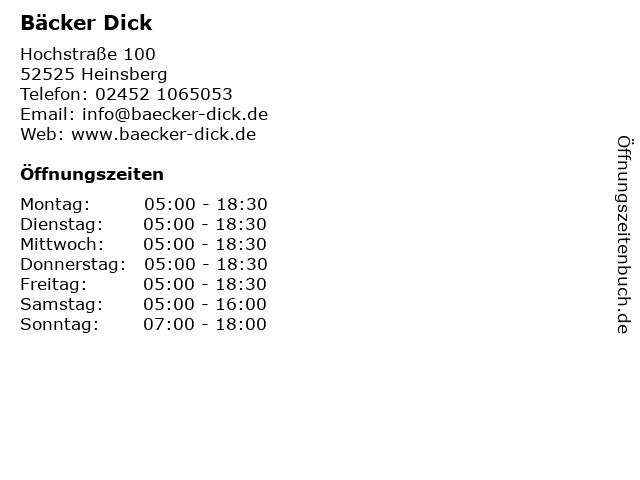 Bäcker Dick in Heinsberg: Adresse und Öffnungszeiten