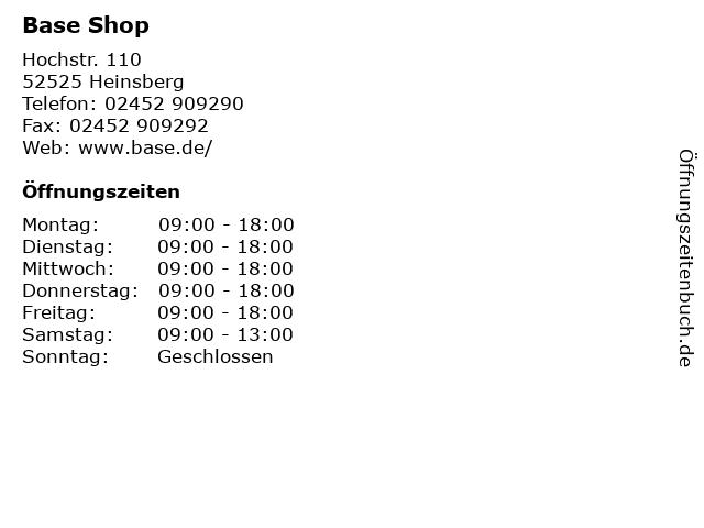 Base Shop in Heinsberg: Adresse und Öffnungszeiten