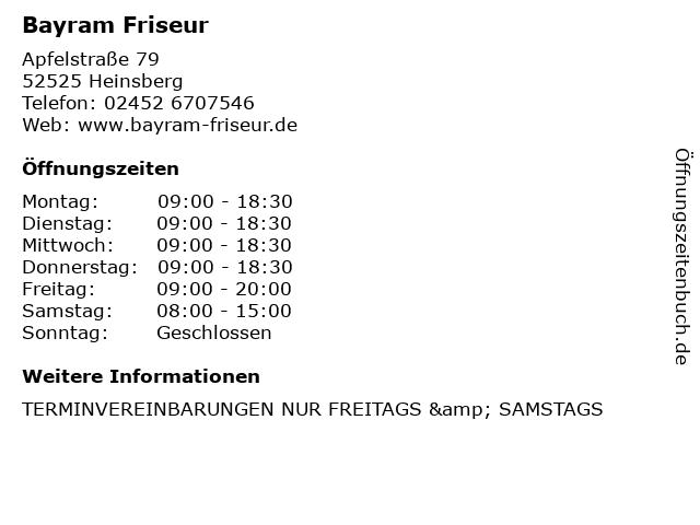 Bayram Friseur in Heinsberg: Adresse und Öffnungszeiten