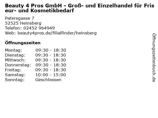 Beauty 4 Pros GmbH - Groß- und Einzelhandel für Friseur- und Kosmetikbedarf in Heinsberg: Adresse und Öffnungszeiten