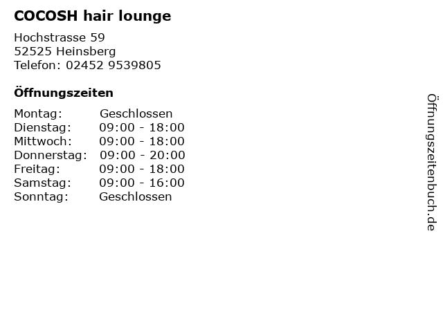 COCOSH hair lounge in Heinsberg: Adresse und Öffnungszeiten