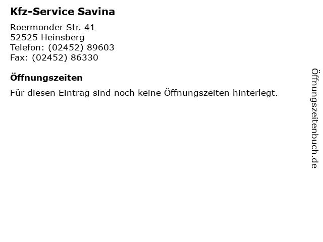 Kfz-Service Savina in Heinsberg: Adresse und Öffnungszeiten