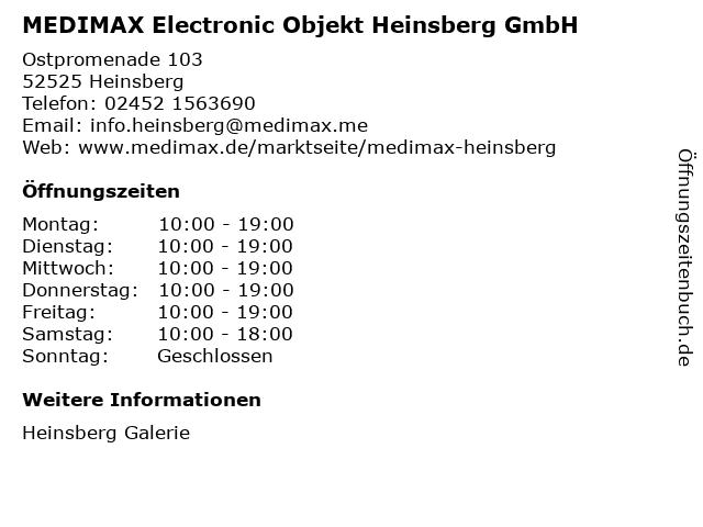 MEDIMAX Electronic Objekt Heinsberg GmbH in Heinsberg: Adresse und Öffnungszeiten