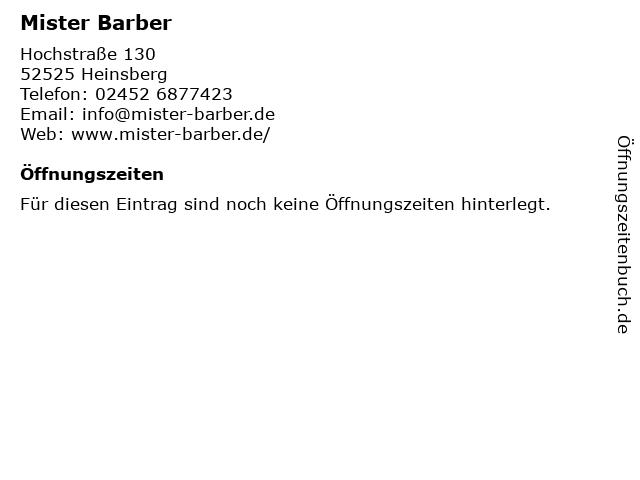 Mister Barber in Heinsberg: Adresse und Öffnungszeiten