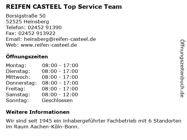REIFEN CASTEEL Top Service Team in Heinsberg: Adresse und Öffnungszeiten