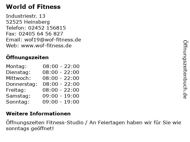 World of Fitness in Heinsberg: Adresse und Öffnungszeiten