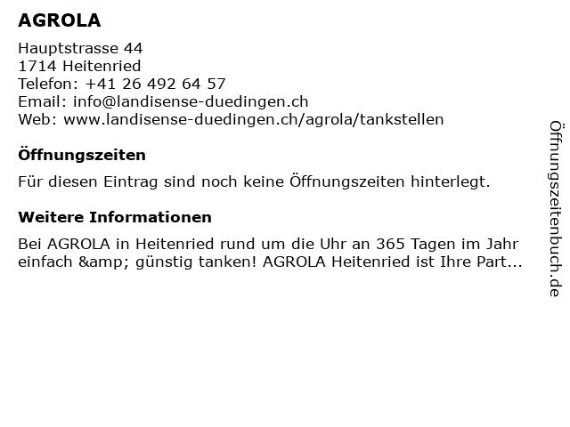 Agrola Tankstelle in Heitenried: Adresse und Öffnungszeiten