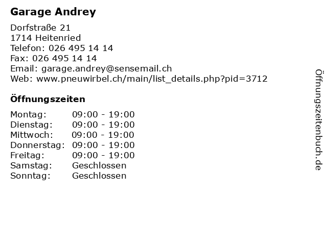 Garage Andrey in Heitenried: Adresse und Öffnungszeiten