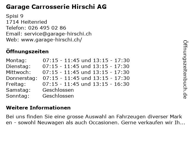 Garage Carrosserie Hirschi AG in Heitenried: Adresse und Öffnungszeiten