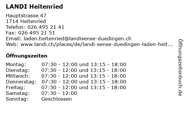 LANDI Heitenried in Heitenried: Adresse und Öffnungszeiten