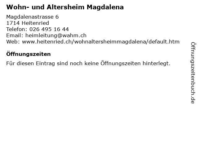 Wohn- und Altersheim Magdalena in Heitenried: Adresse und Öffnungszeiten
