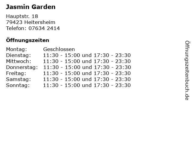 Jasmin Garden in Heitersheim: Adresse und Öffnungszeiten