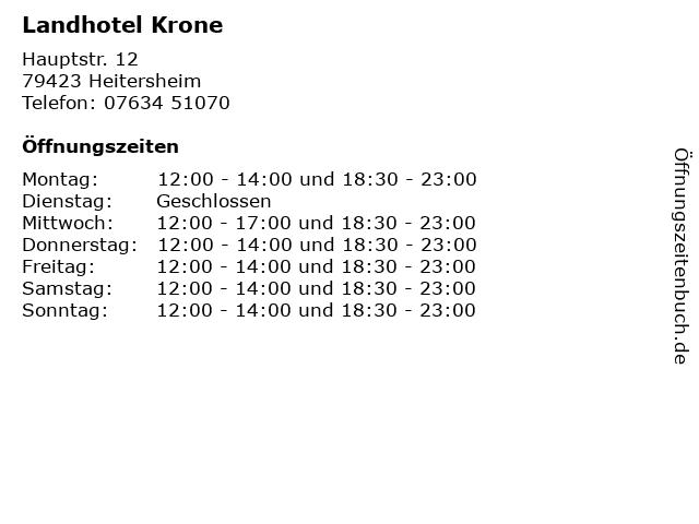 Landhotel Krone in Heitersheim: Adresse und Öffnungszeiten