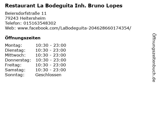 Restaurant La Bodeguita Inh. Bruno Lopes in Heitersheim: Adresse und Öffnungszeiten