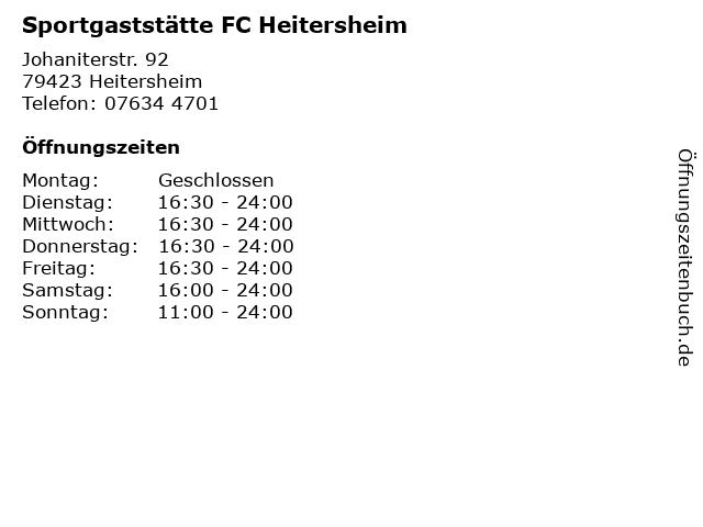 Sportgaststätte FC Heitersheim in Heitersheim: Adresse und Öffnungszeiten