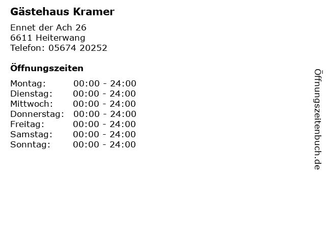 Gästehaus Kramer in Heiterwang: Adresse und Öffnungszeiten