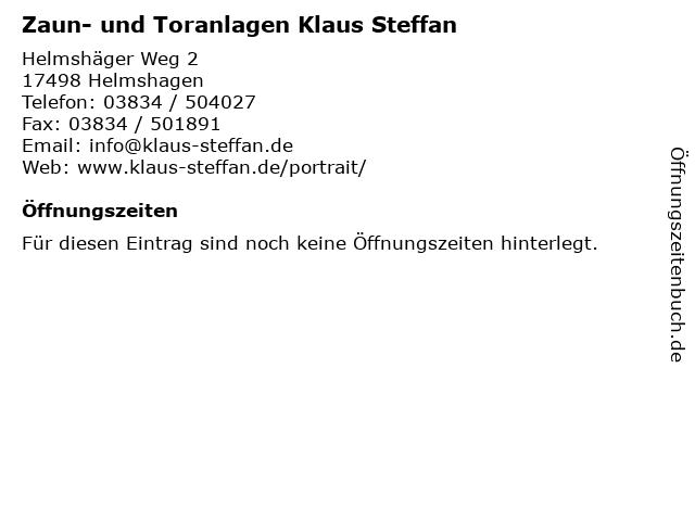 Zaun- und Toranlagen Klaus Steffan in Helmshagen: Adresse und Öffnungszeiten