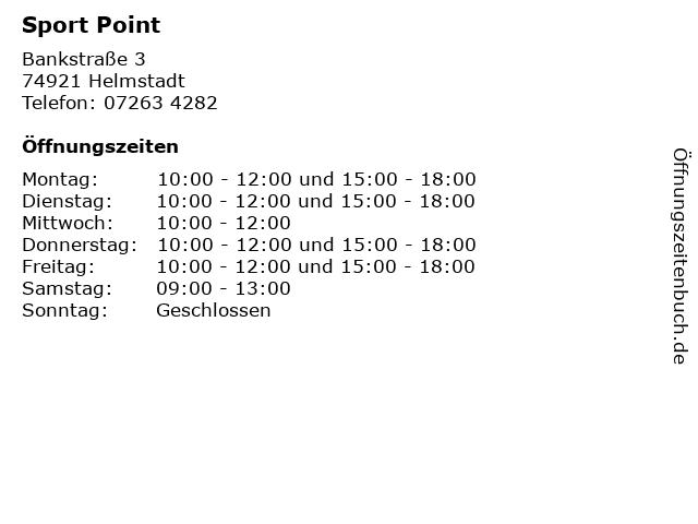 Sport Point in Helmstadt: Adresse und Öffnungszeiten