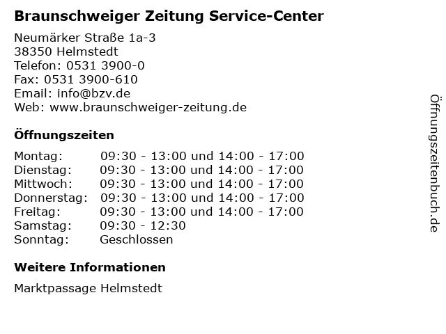 Braunschweiger Zeitung Service-Center in Helmstedt: Adresse und Öffnungszeiten