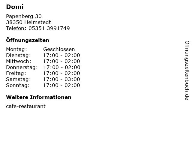 Domi in Helmstedt: Adresse und Öffnungszeiten