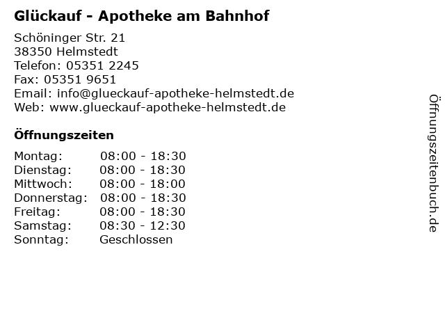 Glückauf - Apotheke am Bahnhof in Helmstedt: Adresse und Öffnungszeiten