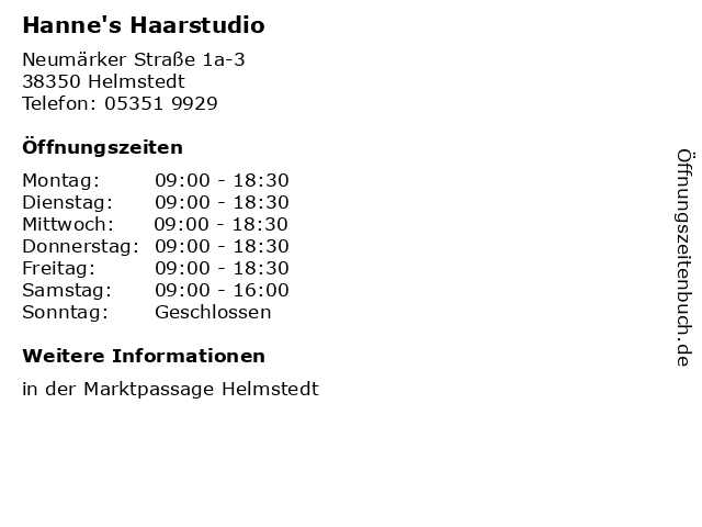 Hanne's Haarstudio in Helmstedt: Adresse und Öffnungszeiten