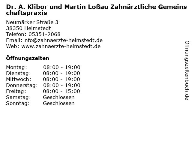 Klibor, Dr. med. Axel & Loßau, Martin in Helmstedt: Adresse und Öffnungszeiten