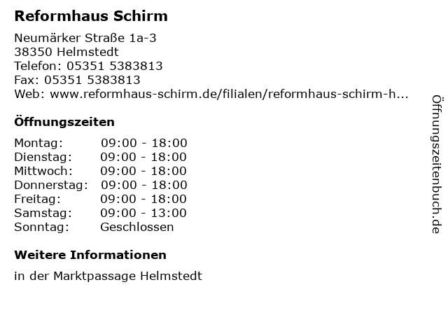 Reformhaus Schirm in Helmstedt: Adresse und Öffnungszeiten