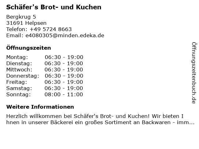Schäfer's Brot- und Kuchen in Helpsen: Adresse und Öffnungszeiten
