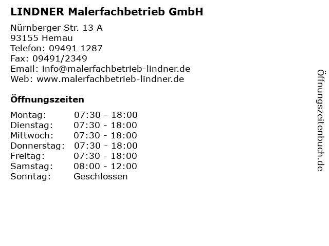LINDNER Malerfachbetrieb GmbH in Hemau: Adresse und Öffnungszeiten