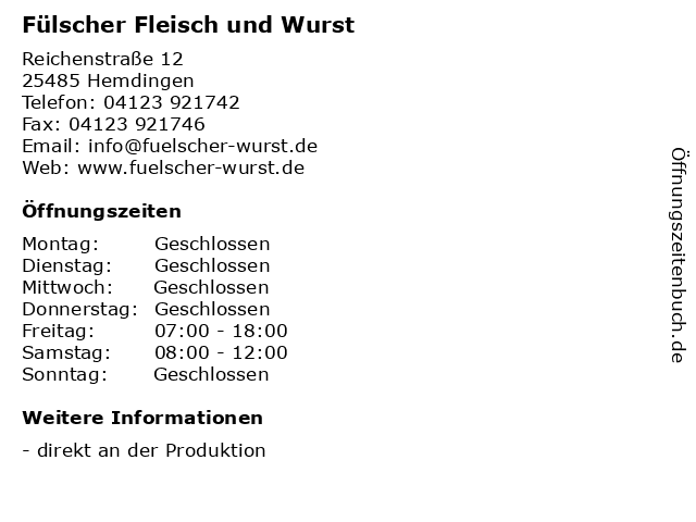 Fülscher Fleisch und Wurst in Hemdingen: Adresse und Öffnungszeiten