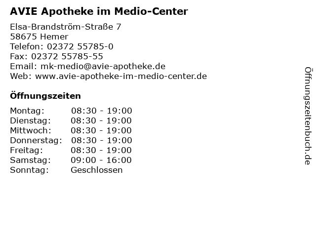AVIE Apotheke im Medio-Center in Hemer: Adresse und Öffnungszeiten