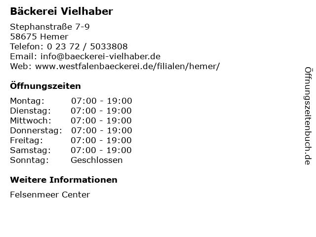 Bäckerei & Mühle Eberhard Vielhaber GmbH & Co. KG in Hemer: Adresse und Öffnungszeiten