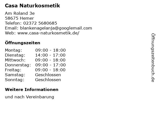 Casa Naturkosmetik in Hemer: Adresse und Öffnungszeiten