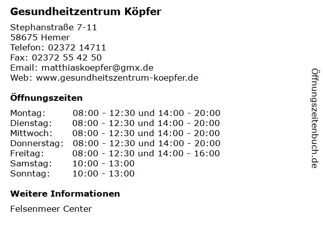 Gesundheitzentrum Köpfer in Hemer: Adresse und Öffnungszeiten