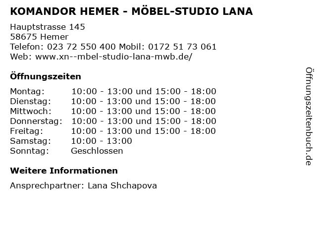 KOMANDOR HEMER - MÖBEL-STUDIO LANA in Hemer: Adresse und Öffnungszeiten
