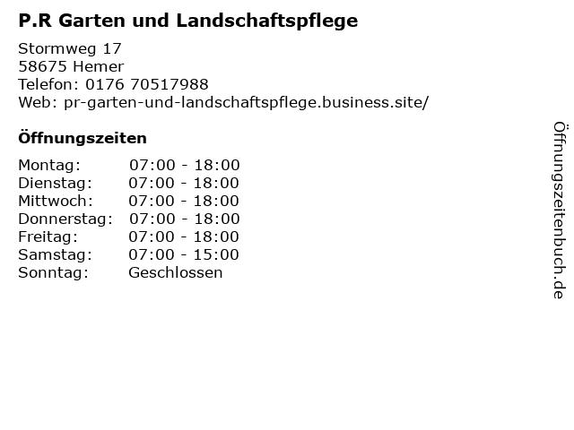 P.R Garten und Landschaftspflege in Hemer: Adresse und Öffnungszeiten