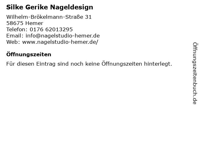 Silke Gerike Nageldesign in Hemer: Adresse und Öffnungszeiten