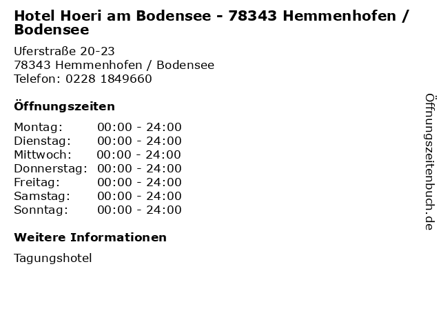 Hotel Hoeri am Bodensee - 78343 Hemmenhofen / Bodensee in Hemmenhofen / Bodensee: Adresse und Öffnungszeiten