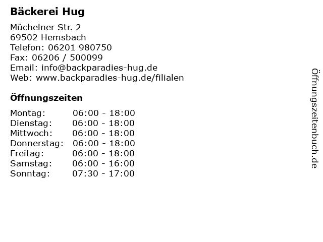 Bäckerei Hug in Hemsbach: Adresse und Öffnungszeiten