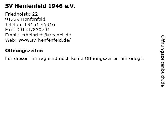 SV Henfenfeld 1946 e.V. in Henfenfeld: Adresse und Öffnungszeiten