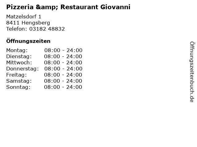 Pizzeria & Restaurant Giovanni in Hengsberg: Adresse und Öffnungszeiten