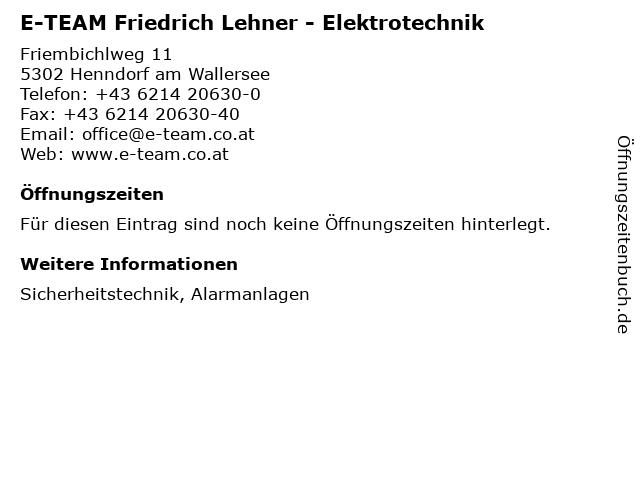 E-TEAM Friedrich Lehner - Elektrotechnik in Henndorf am Wallersee: Adresse und Öffnungszeiten