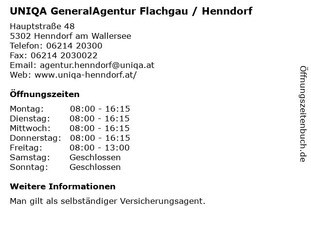 UNIQA GeneralAgentur Flachgau / Henndorf in Henndorf am Wallersee: Adresse und Öffnungszeiten