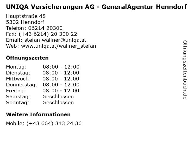 UNIQA Versicherungen AG - GeneralAgentur Henndorf in Henndorf: Adresse und Öffnungszeiten
