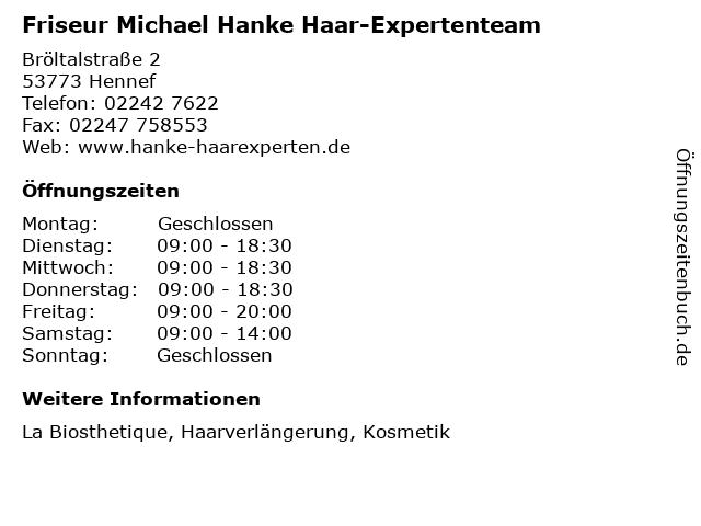 Friseur Michael Hanke Haar-Expertenteam in Hennef: Adresse und Öffnungszeiten